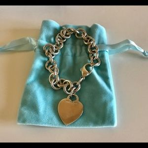 Tiffany & Co Blank Heart Tag Link Bracelet 925 8""
